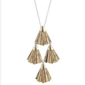 Alexis Bittar  Crystal Tiered Fan Pendant Necklace